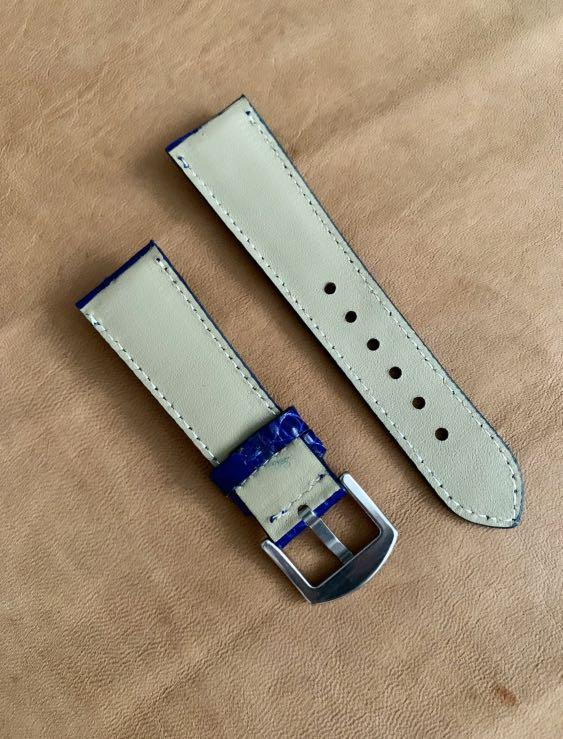 24mm/20mm Blue Crocodile Alligator Watch Strap 24mm@lug/20mm@buckle 'gorgeous scales'   (Second and last piece 🙏🏻👍🏻) 24mm/20mm