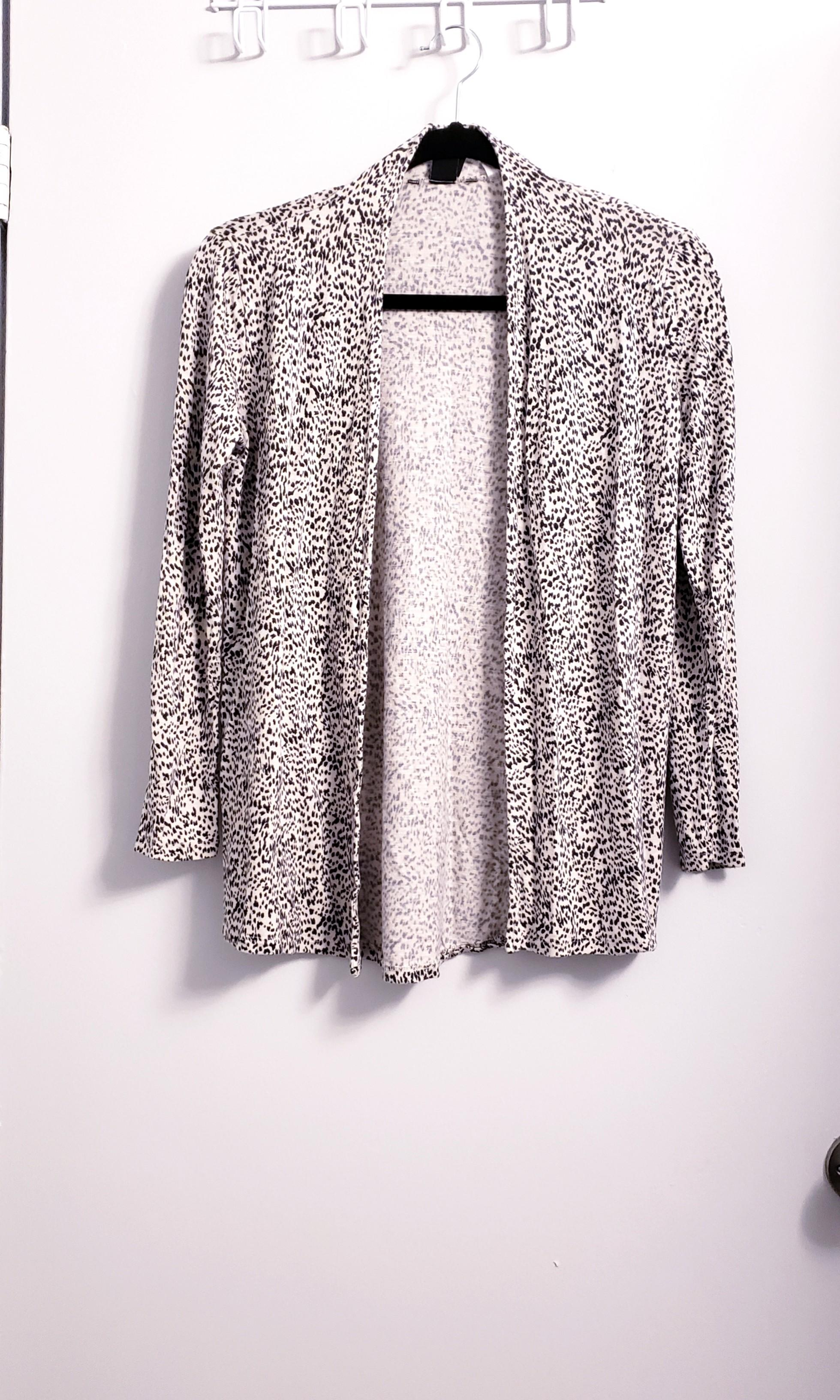 Nordstrom Beige Light Printed Open Cardigan Sweater