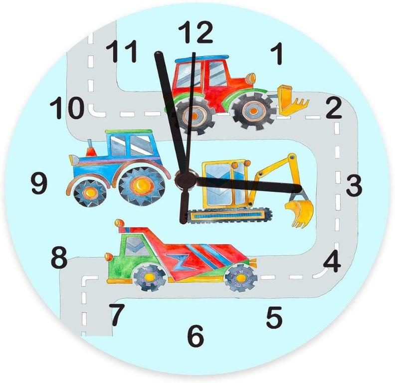 Personalised Clock,Boys Clock,Kids Clocks, Child's Clock,Wall Clock, Silent Clocks, Tell the Time, Nursery Clocks, Kids Rooms, Digger