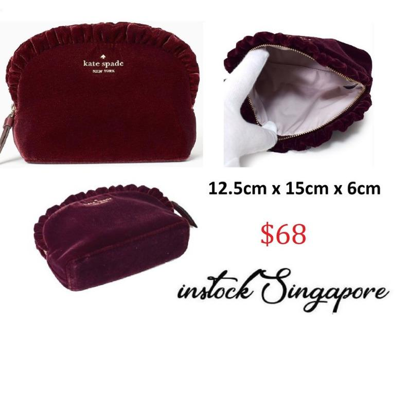 READY STOCK authentic new Kate Spade Briar Lane Small Ruffled Makeup Cosmetic Velvet Weekend/Travel Bag WLRU5659