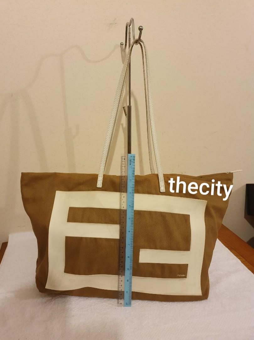 """AUTHENTIC FENDI BIG """"FF"""" LOGO SHOULDER BAG -  BROWN/ WHITE COLOR- CLEAN INTERIOR & POCKETS - HOLOGRAM STICKER INTACT , SERIAL NUMBER INTACT - OVERALL OK - (FENDI SHOULDER BAGS NOW RETAIL OVER RM 10,000+)"""