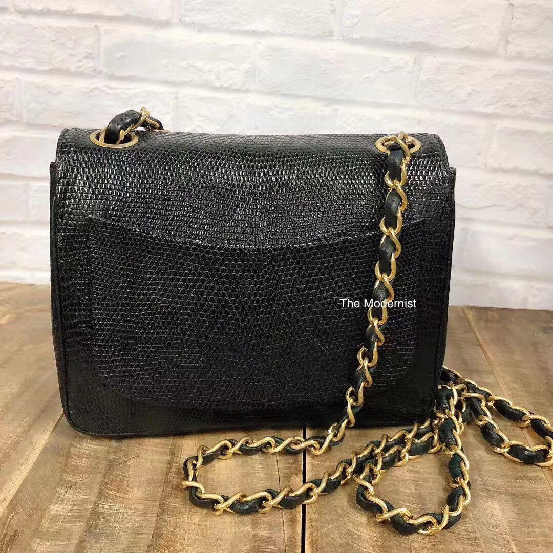 Authentic Vintage Chanel Square Mini Exotic Leather Black Lizard Skin Gold Hardware