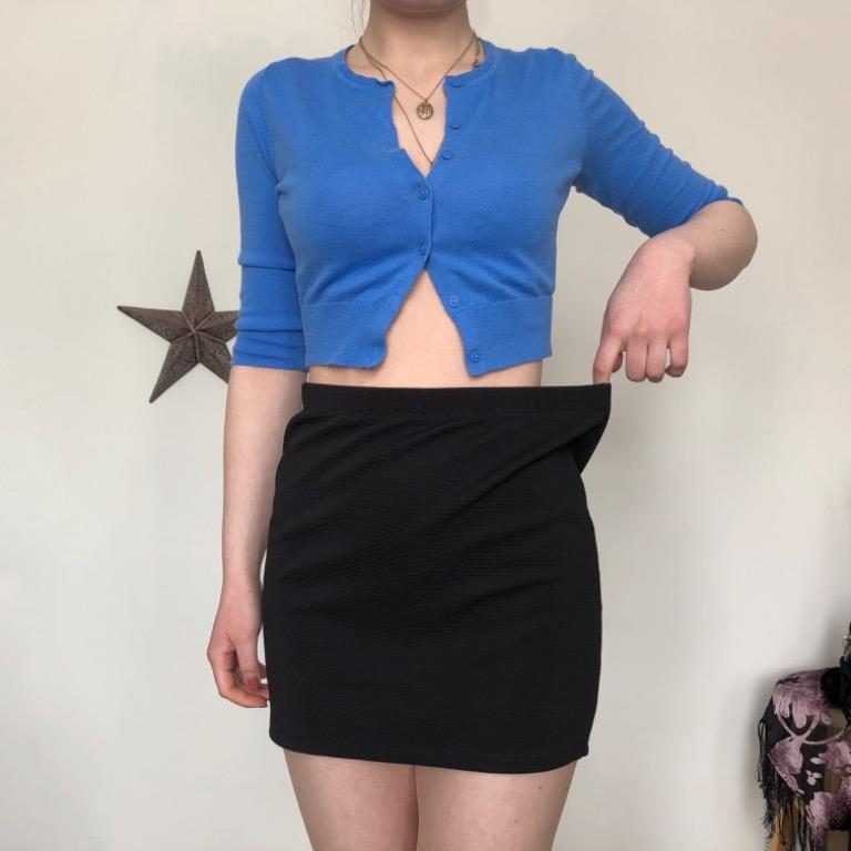 Black bodycon mini skirt with silver & cobalt blue statement zipper in the back