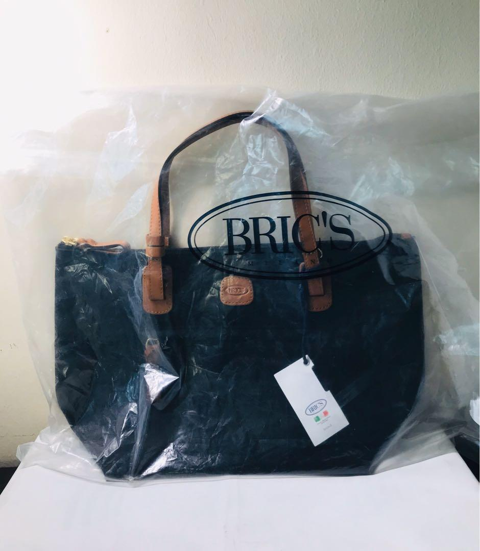 Bric's. Sportina. Black Nylon. SMALL. Shopper Bag. Shoulder Bag. Tote Bag. Detachable Pouch (with attachable straps). 15x9x6.5 inches. AUTHENTIC