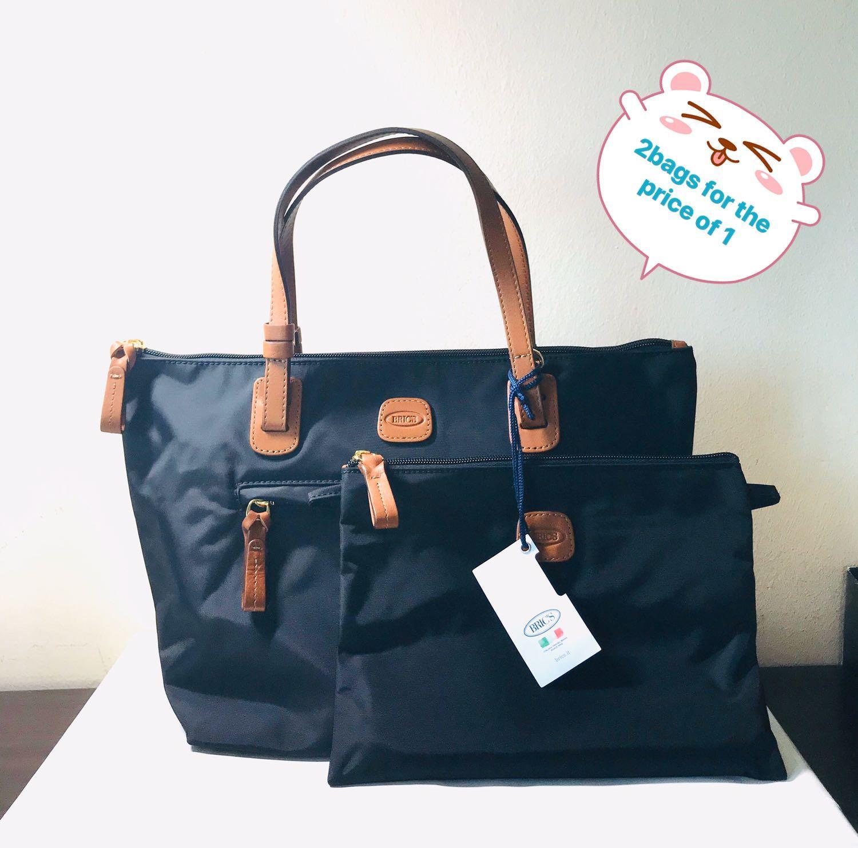 Bric's. Sportina. Black Nylon. SMALL. Shopper Bag. Shoulder Bag. Tote Bag. Detachable Pouch (with attachable straps). 14.5x9x6.5 inches. AUTHENTIC