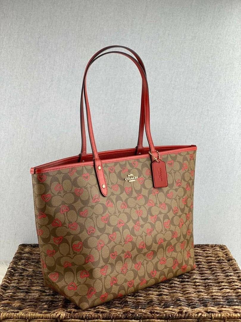 Coach Reversible city tote with crayon hearts print in khaki multi true red