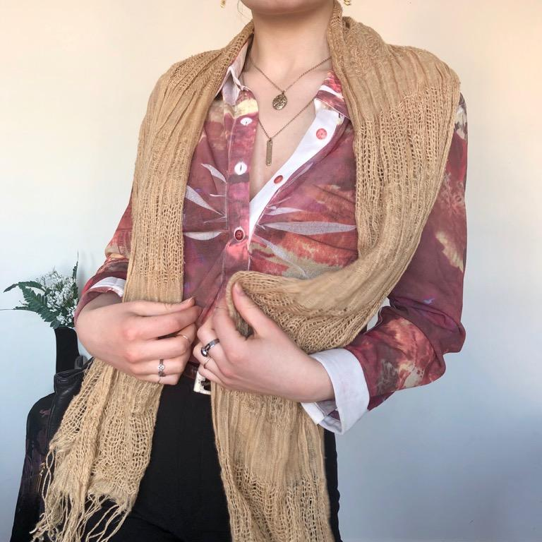 Light multi-textured tan coloured fringed knit scarf