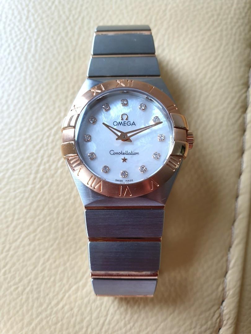Omega Constellation Rose Gold Diamonds Mother of Pearl Dial Steel Quartz Ladies 27mm                          Rolex Tudor Cartier Omega Iwc AP