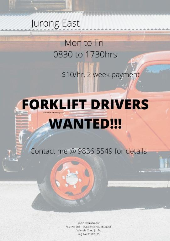 Operation Forklift Drivers ($10/hr, 2WEEKS 1 TIME PAYMENT)