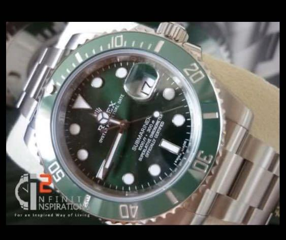 """Rolex Green Submariner 116610LV  """" Hulk """"  - Unworn Complete Set with Box and Papers Dated 2019 from overseas boutique."""
