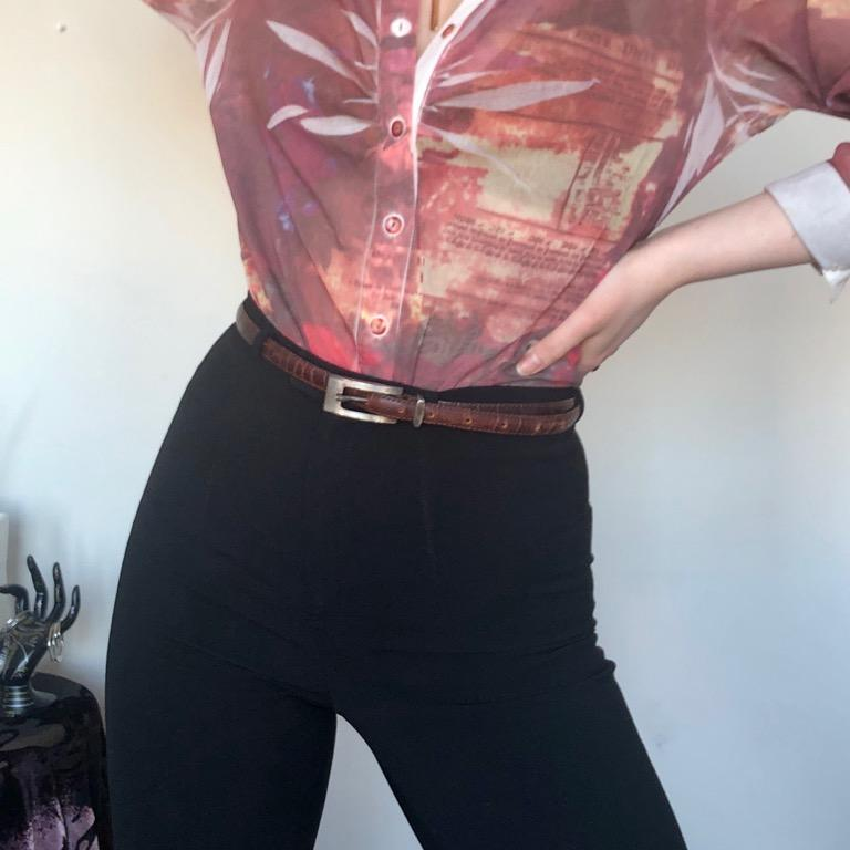 Vintage Brown Skinny Genuine Leather Snakeskin Belt