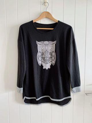 [二手現貨實拍]台灣品牌哈里波特貓頭鷹🦉黑色長版上衣寬鬆感中大尺碼M到小L可穿#1010