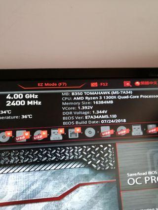 Ryzen 3 1300x 四核四線(可以上四GHz)