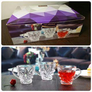 全家免運 DELISOGA 德力 水晶花茶杯 6入禮盒組 玻璃杯 水晶杯 酒杯 啤酒杯 烈酒杯 威士忌杯