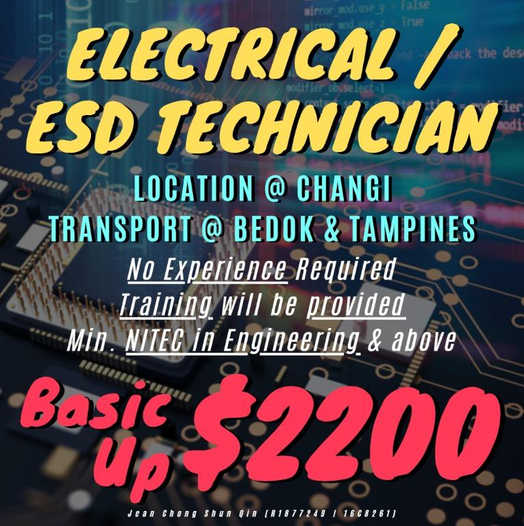 🛠️ Electrical / ESD Technician 🛠️ (No EXP Req / Up $2200)