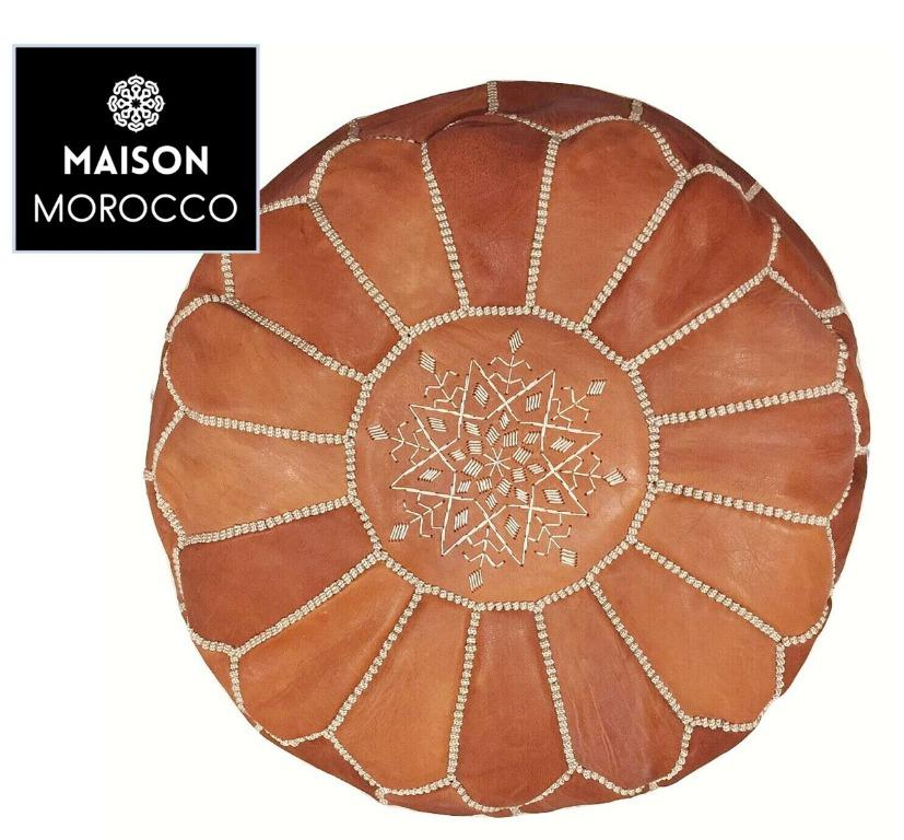 Beautiful Moroccan Pouf Leather Ottoman - High Quality Leather Amazing Quality
