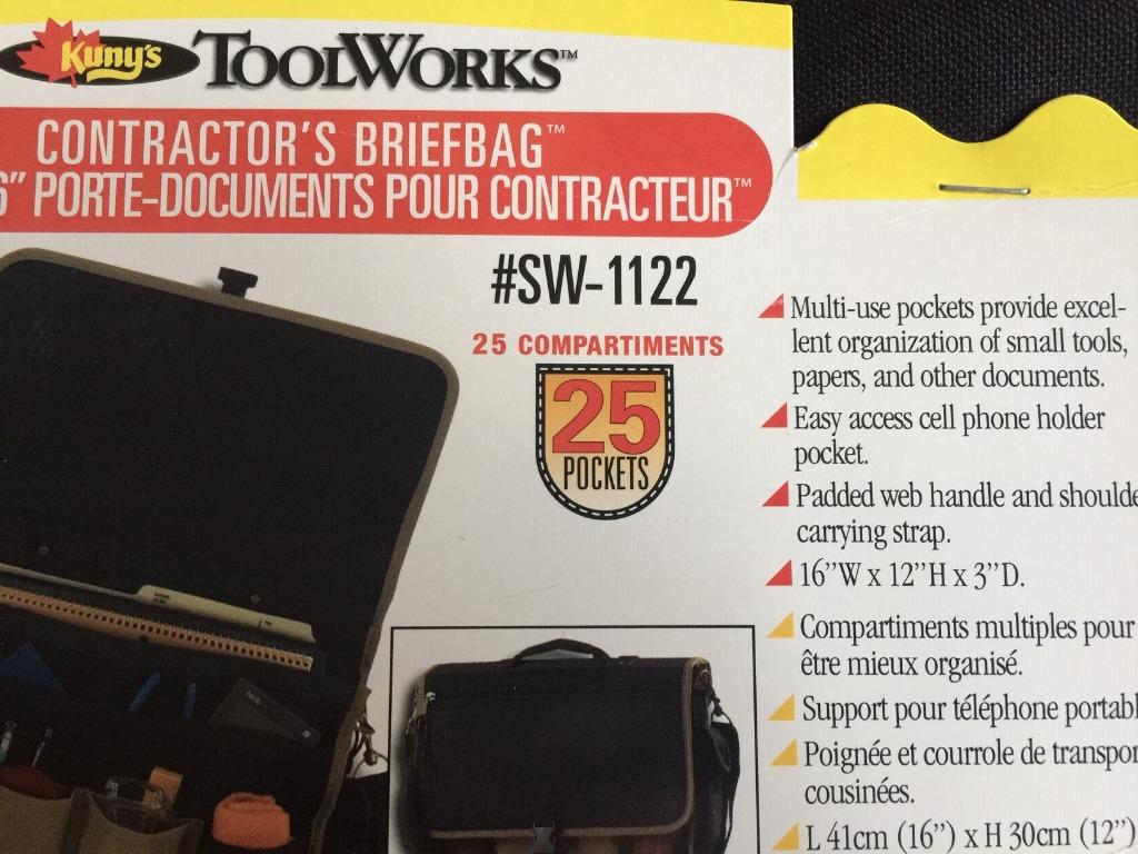 "BRAND NEW! KUNY'S 16"" contractor's briefbag toolbag SW1122"