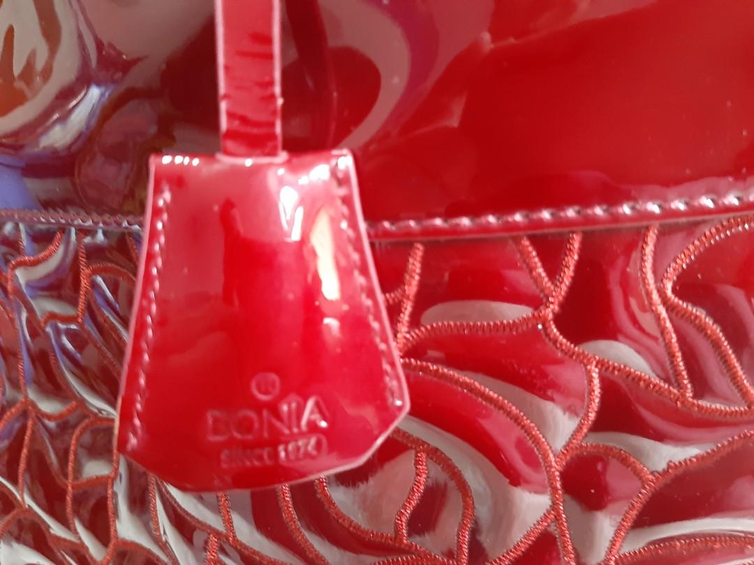 Fixed Price... Harga Nett!!!  Authentic Bonia Alma Red Patent Leather hand bag-Excellent🍧🌼🌻