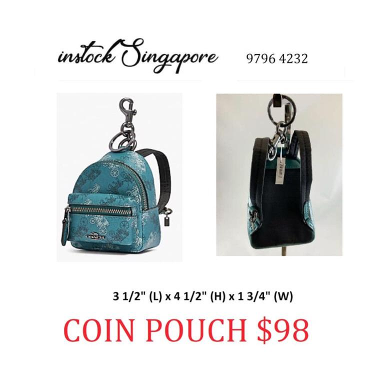 READY STOCK authentic new Coach BACKPACK COIN CASE WITH HORSE AND CARRIAGE PRINT (COACH F88095)