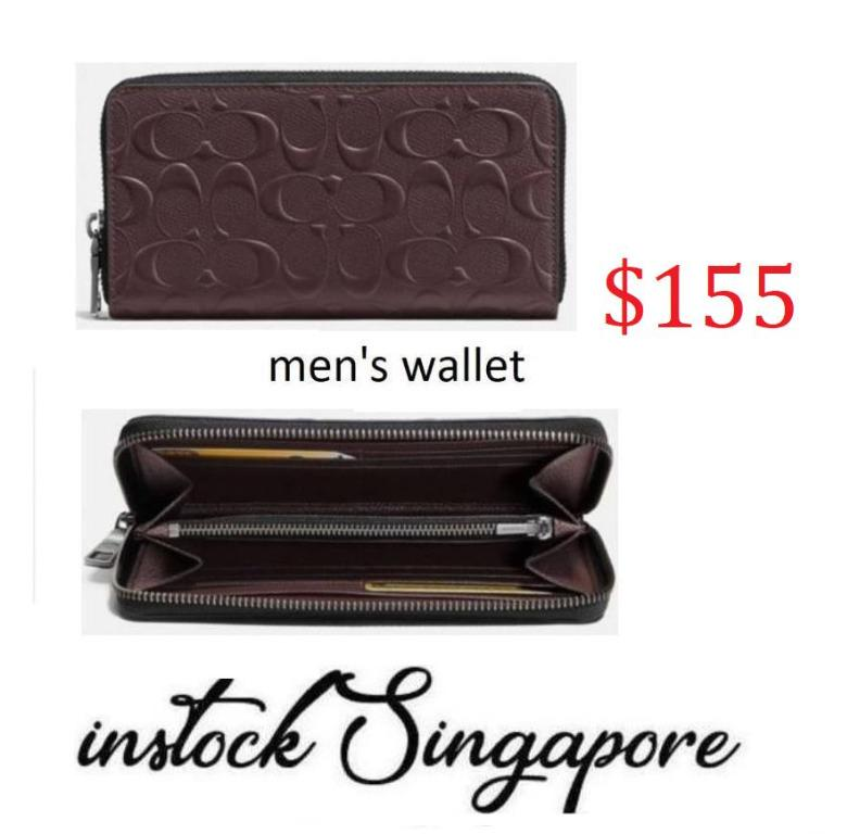 READY STOCK authentic new Coach F58113 Men's Signature Accordion Mahogany Crossgrain Leather Wallet