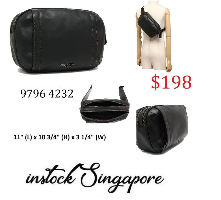 READY STOCK authentic new  COACH GRAHAM UTILITY PACK (COACH F37594) men belt bag BLACK/BLACK ANTIQUE NICKEL