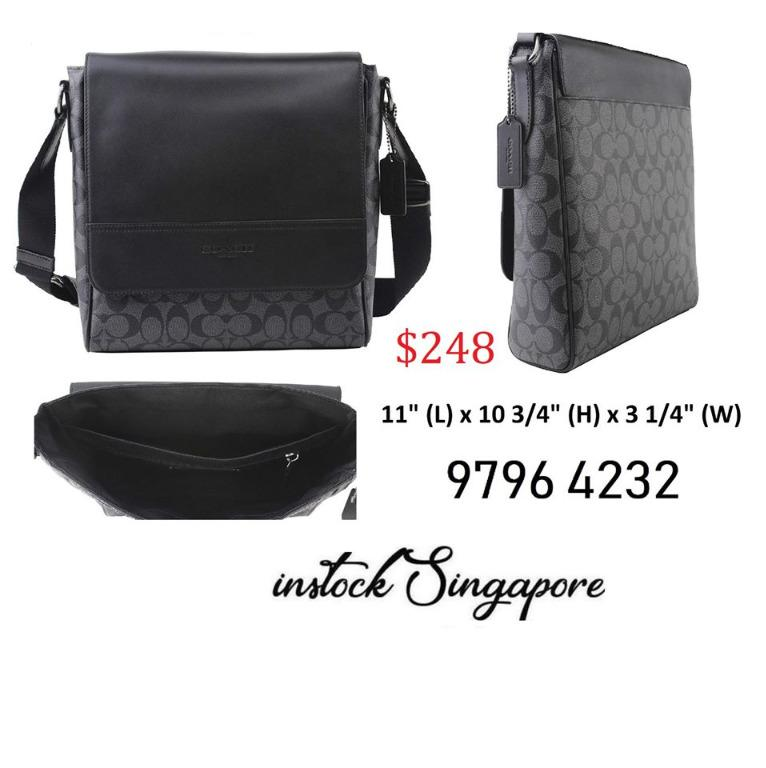 READY STOCK authentic new Coach Houston Map Messenger Bag Signature Leather in Charcoal/Black, Style F73339