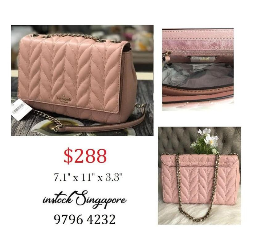 READY STOCK authentic NEW Kate Spade Briar Lane Quilted Emelyn Rosy Cheeks wkru5762 Crossbody Shoulder Bag