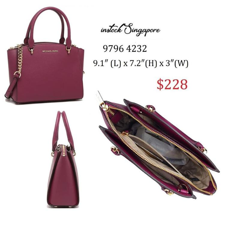 READY STOCK authentic new MICHAEL Michael Kors Ellis Small Convertible Satchel Leather 35H7GE0S1L