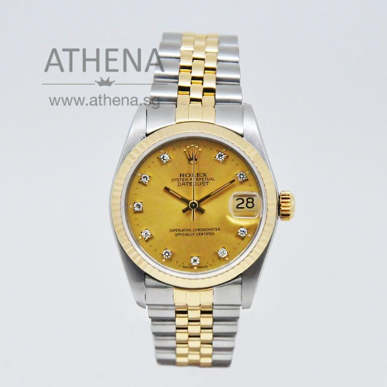 "ROLEX ""HALF-GOLD"" MID-SIZE OYSTER PERPETUAL DATEJUST ""N"" SERIES ""GOLD DIAMOND DIAL"" WITH CERT 68273 JWWRL_1306"