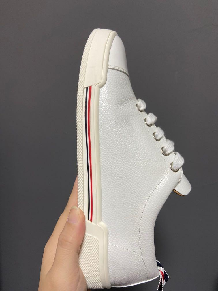 Thom Browne New York Toe Cap Trainer, 4-Bar rubber cupsole in pebble // lucido leather + calf leather