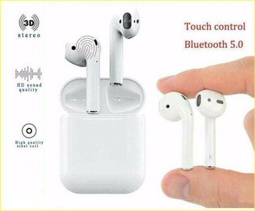 Touch Control Wireless Bluetooth Stereo Auto Pairing Earbuds (White)
