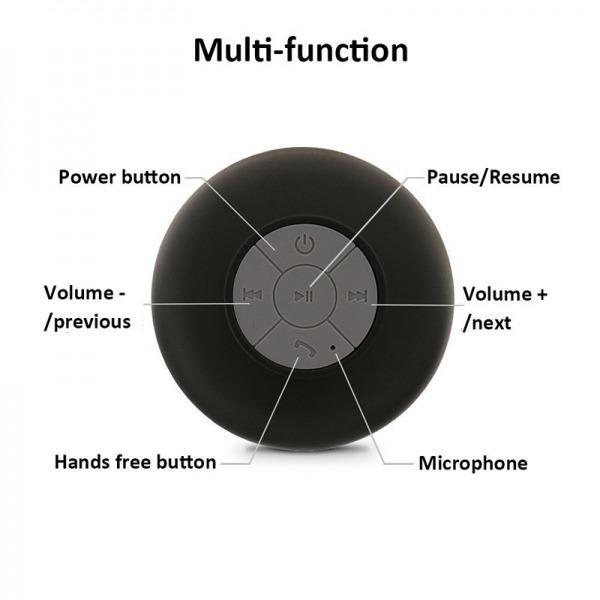 Waterproof Bluetooth Wireless Shower Speaker with Built-in Mic