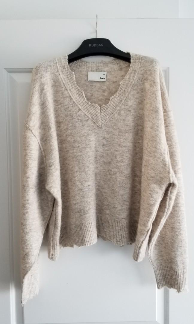 Wilfred Free oversize wool/alpaca sweater with frayed edge detail - size 3 (Large)