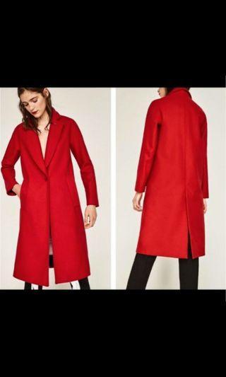XS ZARA INSPIRED LONG RED COAT