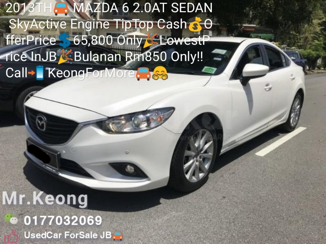 2013TH🚘 MAZDA 6 2.0AT SEDAN SkyActive Engine TipTop Cash💰OfferPrice💲65,800 Only🎉LowestPrice InJB🎉Bulanan Rm850 Only!! Call📲 KeongForMore🚘🤗