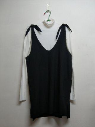 黑色吊帶裙+白色內搭上衣
