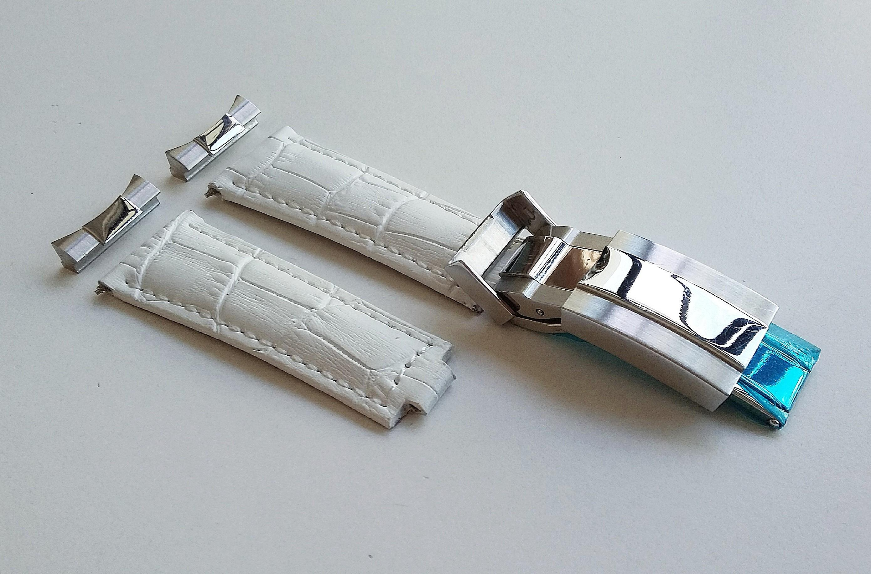 20MM STEEL ENDLINK SET COMPLETE W WHITE CALF LEATHER AND STEEL CLASP FOR ROLEX DAYTONA, GMT2 & SUB (PRICE INCLUDE FITMENT)