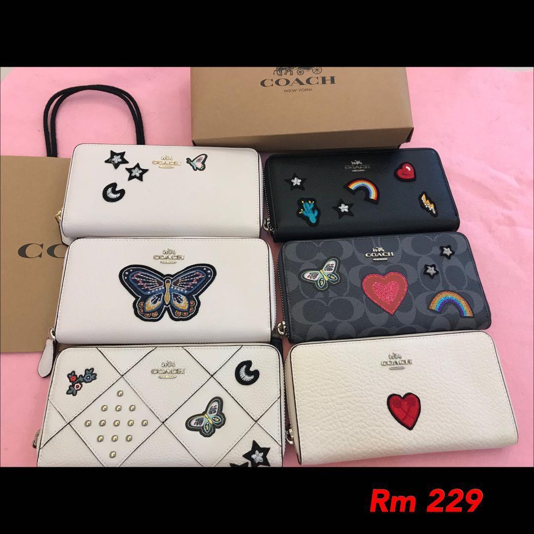 290220 Ready Stock authentic coach women wallet purse clutch men sling bag belt clutch