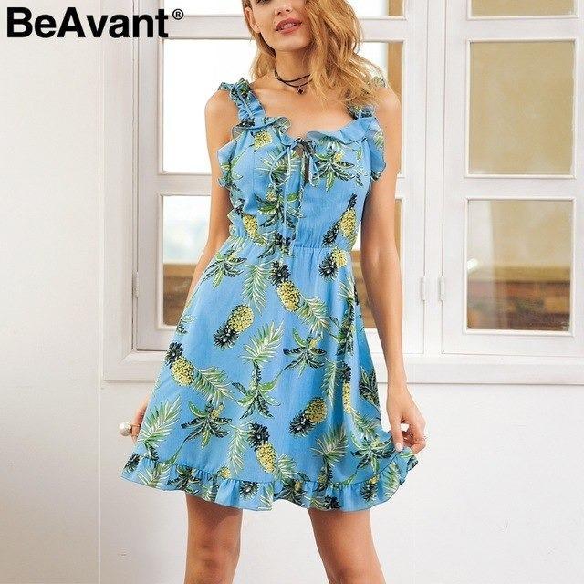 Bohemian strap print women dress V neck backless ruffle sleeveless summer dress Casual high waist short dress