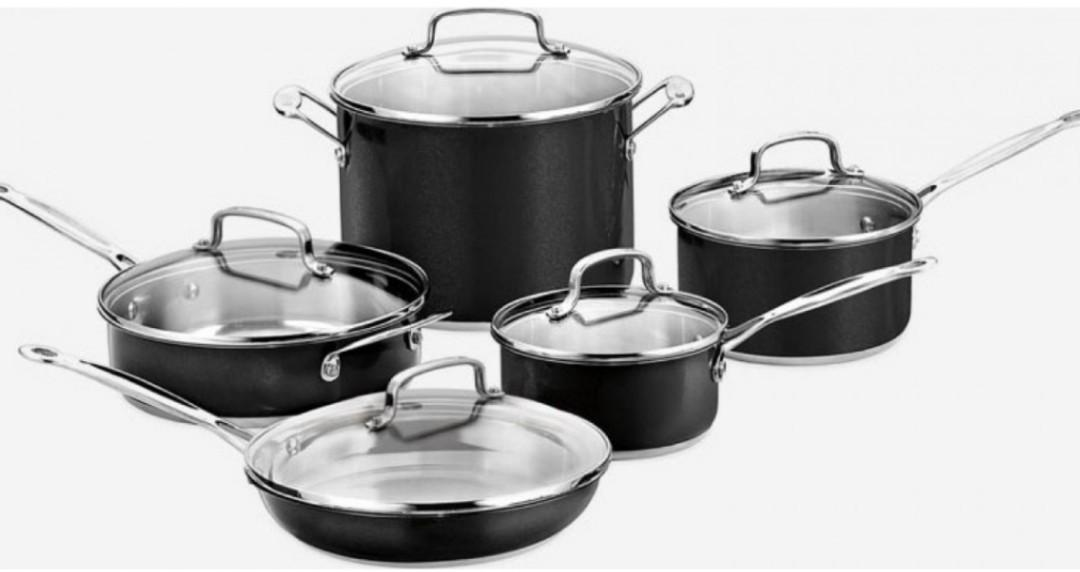 Brand New CUISINART 10pc Cookware Set - Stainless Steel Metallic - Black