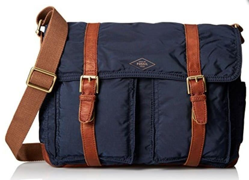 F0ssil Messenger Bags Bahan Nylon mix leather (inner cotton) Warna Navy preloved Vgc