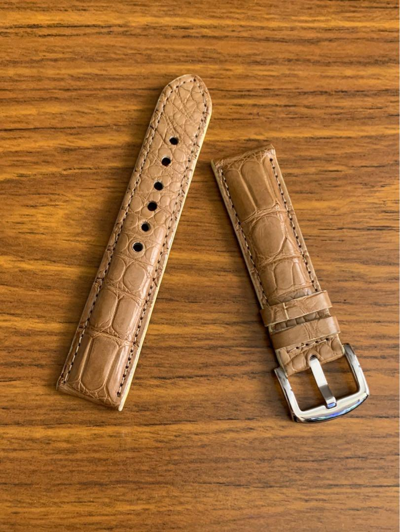 22mm/20mm Authentic Light Pecan Brown Beautiful Alligator Crocodile Watch Strap (versatile, scarce and beautiful colour- only one piece, once sold, no more 🙏🏻😊) Standard Length- L:120mm, S:75mm