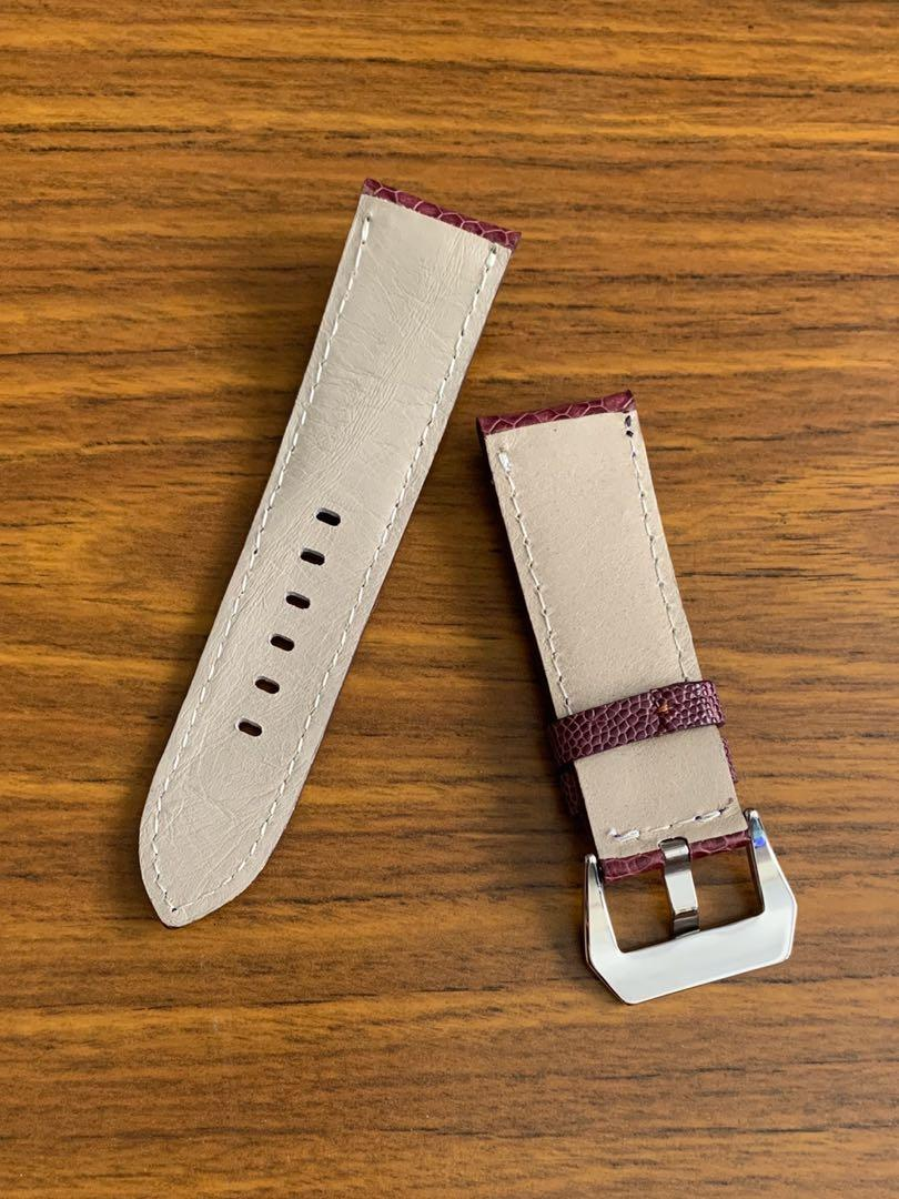 [DISCOUNTED] 24mm/22mm Authentic Mauve Purple Ostrich Leg Watch Strap (one and only piece, once sold no more 👌🏻😊) Length- L:115mm, S:75mm - LAST SUCH PIECE- CB SALE!!😊