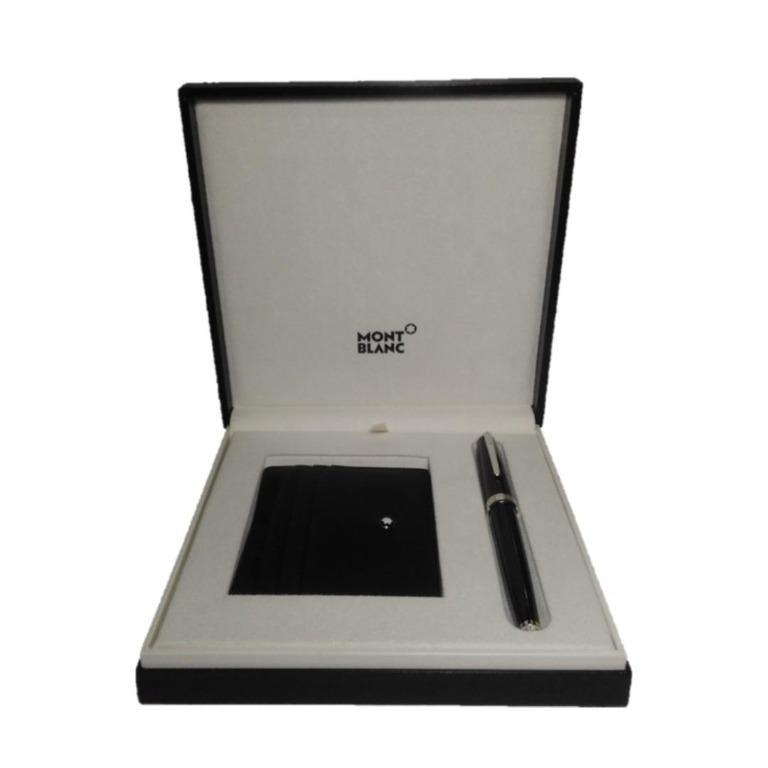 Montblanc Set with PIX Black Rollerball and Meisterstück Soft Grain Pocket Holder 6 CC black