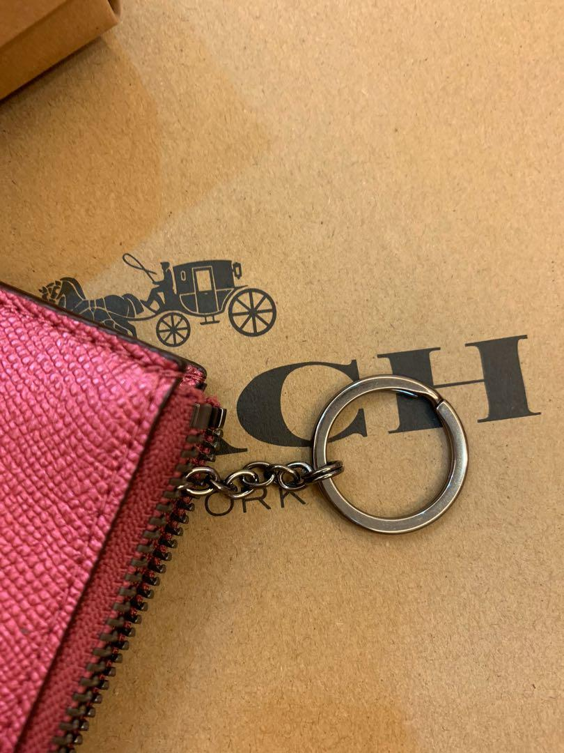 Ready stock authentic coach women cars holder lanyard in pink metallic