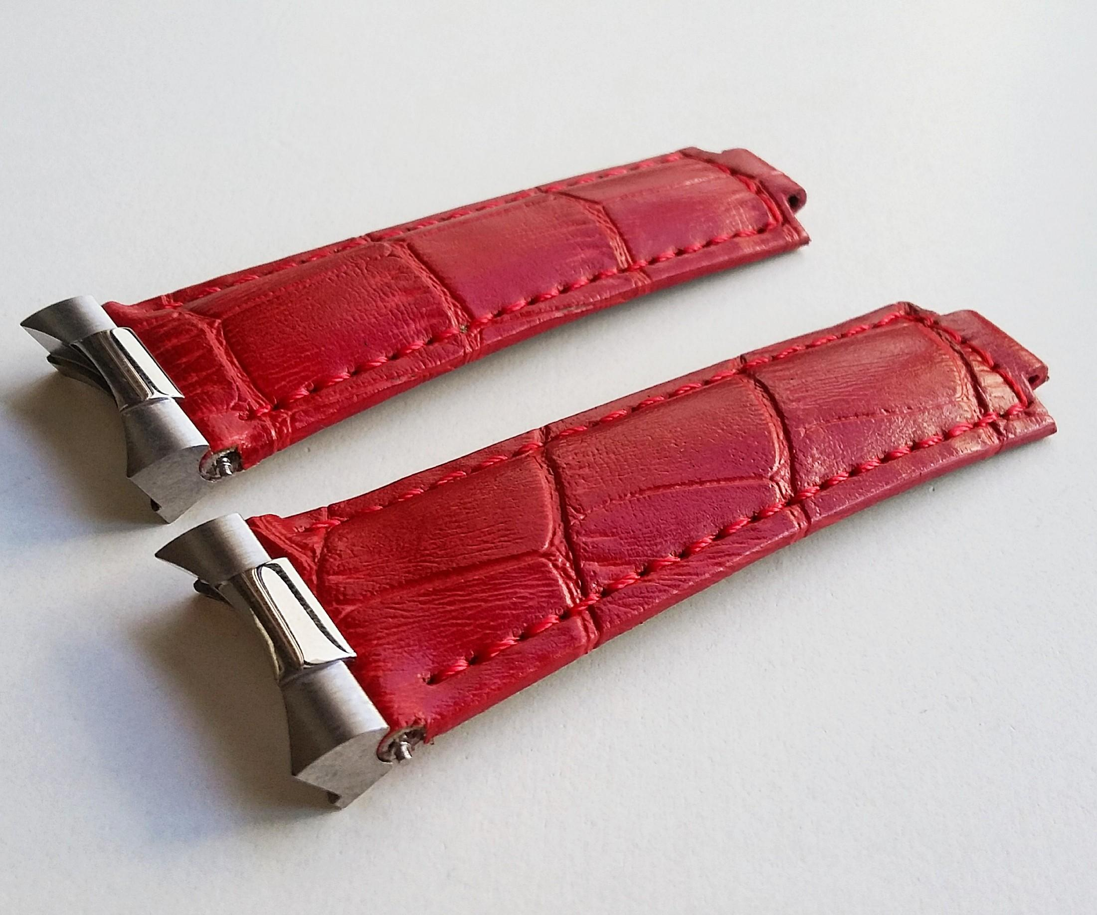 20MM ENDLINK SET WITH  RED CALF LEATHER AND STEEL CLASP FOR ROLEX DAYTONA (PRICE INCLUDE FITMENT)