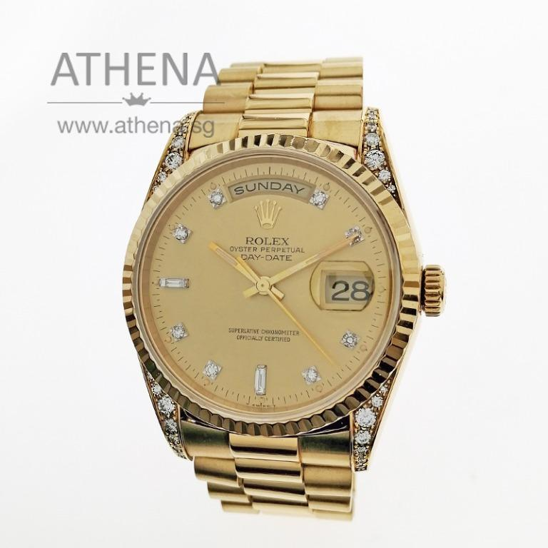"""ROLEX 18K YELLOW GOLD OYSTER PERPETUAL DAY-DATE """"W"""" SERIES """"GOLD DIAMOND DIAL"""" WITH ORIGINAL FACTORY DIAMOND SETTING ON THE LUGS 18338 WLWRL_1210"""