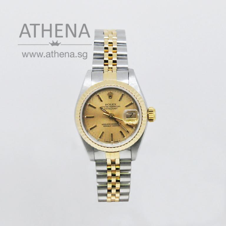 "ROLEX ""HALF-GOLD"" LADIES OYSTER PERPETUAL DATEJUST ""L SERIES"": ""GOLD INDEX DIAL"" 69173 JGWRL_428"