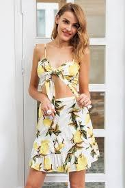 Sexy ruffle lemon print short dress Women boho two-piece bow beach summer dress Casual sleeveless mini dress vestidos