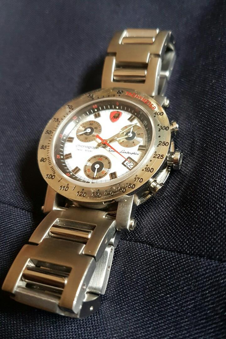 Tonino Lamborghini Stainless Steel Swiss Made Ronda Movement White Black Dial Chronograph Watch with Date